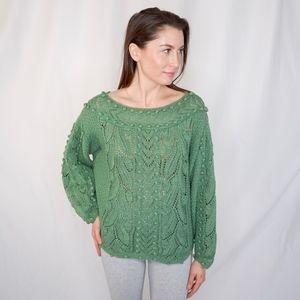 ANNE KLEIN Vintage Green Knit Sweater 0750